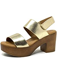 0d479403ba6 Angkorly - Zapatillas Moda Sandalias Zueco Vendimia/Retro Ligera Plataforma  Mujer Efecto Madera Brillantes Tacón