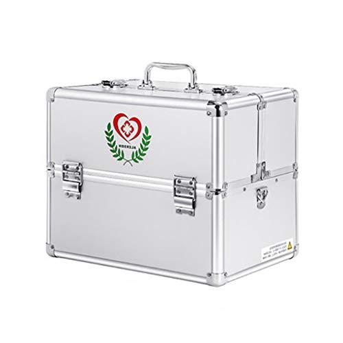 Medizin-Kasten, Haushalts-Tragbarer Aluminiumlegierungs-Dreischichtiger Doppelter Offener Passwort-Medizin-Kasten-Droge-Aufbewahrungsbox-Notfallmedizin-Kasten Mit Hoher KapazitäT