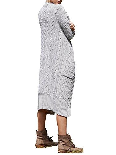 0f0894ba5a17 Simplee Apparel Damen Lang Strickjacke V-Ausschnitt Kabel Cardigan  Strickmantel mit Taschen Grau
