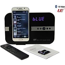 STelectronic A5 - Micro: Système Audio 10 W avec réveil Radio réveil pour Samsung Galaxy Note S2 S3 S4 S6 S7 Mini Tab 4 Alpha Grand Prime Young K Zoom & Bluetooth stéréo Système de Son stéréo - Noir