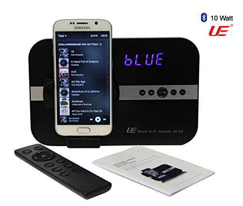 A5-Uhr-MICRO-10-Watt-Sound-System-mit-Alarm-Uhr-Radio-fr-Samsung-Galaxy-Note-S2-S3-S4-S6-S7-Mini-Tab-4-Alpha-Grand-Prime-Young-K-zoom-Tablet-Bluetooth-USB-TYP-A-Interface-Stereo-Fernbedienung-Wecker-H