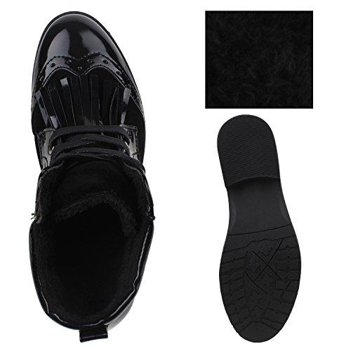 Damen Materialmix Boots Stiefeletten Schnürstiefel Lack Schwarz