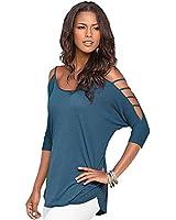 Imixcity® Chemisier - Femme - Manches Longues - Col V - Mousseline de Soie - Blouse -Ourlet Large Shirt - Top - Loose - Casual - Bleu / Blanc /Noir/Gray/Vin rouge