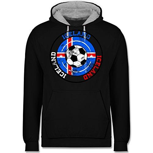Fußball-WM 2018 - Russland - Iceland Kreis & Fußball Vintage - Kontrast Hoodie Schwarz/Grau Meliert
