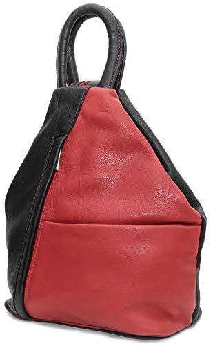 DEVRAKH Echt Leder Damenrucksack CityRucksack Daypack Nappaleder Nappa Rindleder Designer Modern Shopper Damentasche Handtasche Tasche Damen Schwarz Rot Zweifarbig -