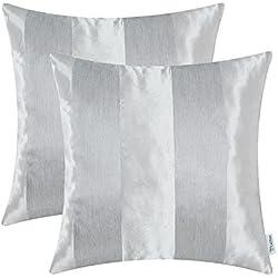 CaliTime Copricuscini e federe Confezione da 2 Fedi per cuscini Copridivano Federe per divano da tavolo Home Decor, Strisce moderne, 50cm x 50cm, Grigio argento