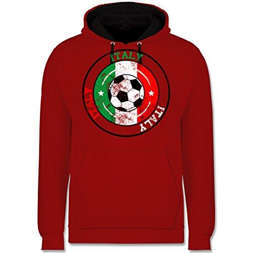 Fußball - Italy Kreis & Fußball Vintage - Kontrast Hoodie Rot/Schwarz