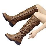 TianWlio Boots Stiefel Schuhe Stiefeletten Frauen Herbst Winter Leder Reißverschluss Runde Spitze Hohe Stiefel Overknee Schuhe Stiefel Weihnachten Khaki 42