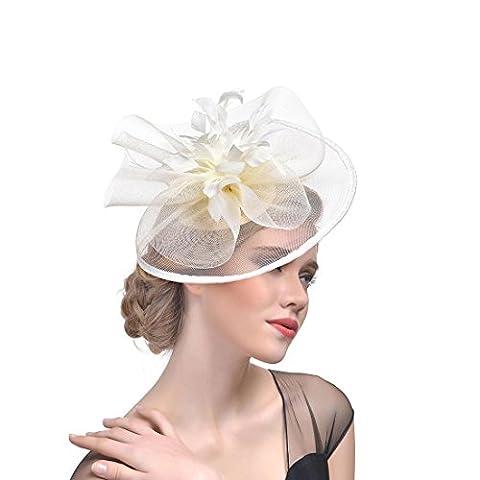 DUUMY Femmes 2017 New mode Feather net Harnais Banquet Chapeau Chevaux Chapeaux Danse Bride Gauze Handmade Headdress Bijoux de Mariage , meters white