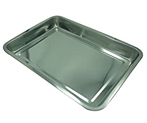 Plateau de service rectangulaire en inox brillant - Moyen modèle - 35,5 X 26,5 X 4,5 cm