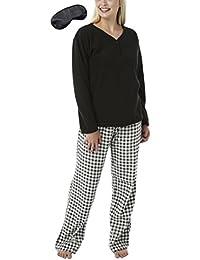 i-Smalls Ladies Warm Cosy Fleece Long Pyjama Free Eye Mask with Selected Designs