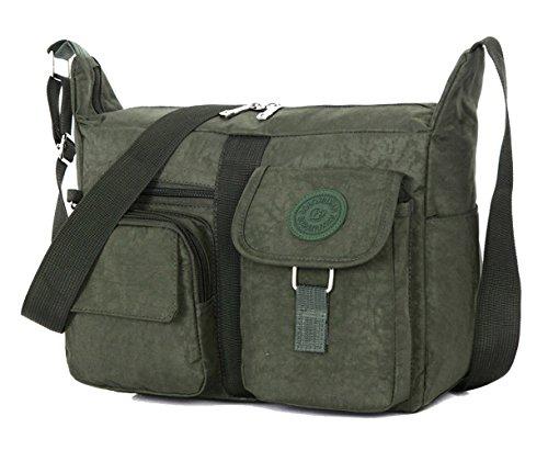 Tibes Voyage sac Messenger Sac à bandoulière occasion Oxford tissu Crossbody sac sac pour femmes / hommes armée verte