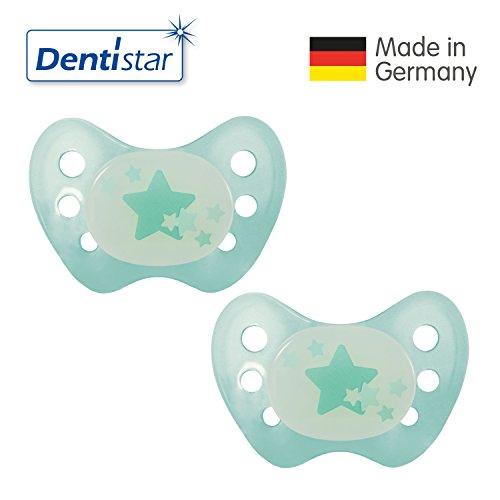 Dentistar® Night Latex Schnuller 2er Set inkl. 2 Schutzkappen - Nuckel - Nacht Leuchtschnuller Größe 2, 6-14 Monate - für Babys - Sterne, türkis