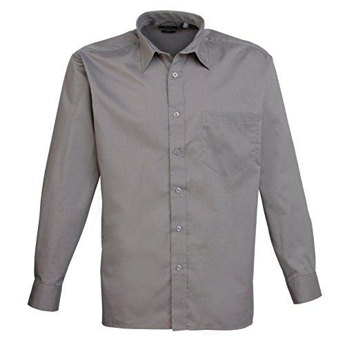 Premier Langarm Popeline-Hemd Dunkle Grau