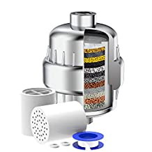 Shower Filter 15-Stage Universal Shower Water Filter with Filter Cartridge Replacement for Hard Water, Shower Head Filter Anti Hair Fall Pretect Skin, Chrome Finished