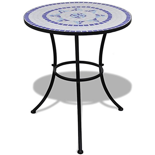 vidaXL Table mosaïque 60 cm Coloris Bleu/Blanc Table d'appoint Sellette Support Plantes