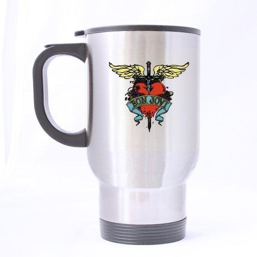 Bon Jovi Fonts Cross Heart Custom Travel Mug Sport Bottle Cup 14 OZ Office Home Cup (Printed on two sides)