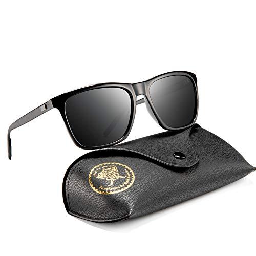 Rocf Rossini Sonnenbrille Herren Schwarz Vintage Polarisierte Sonnenbrille für Frauen UV400 mit Fall (Schwarz/Grau, 55)