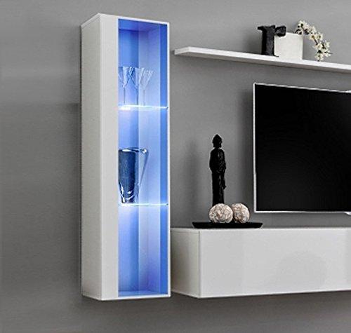 Muebles bonitos lettiemobili –mobile pensile verticale modello berit 30x120 in colore bianco con led