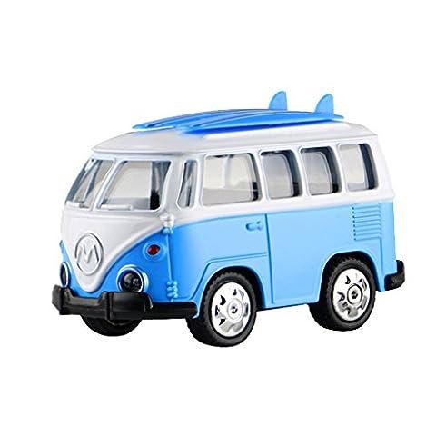 Gazechimp Bleu Die Cast Modèle De Mini Bus Avec Lumière Musique Enfant Jouet Electrique Cadeau Fête