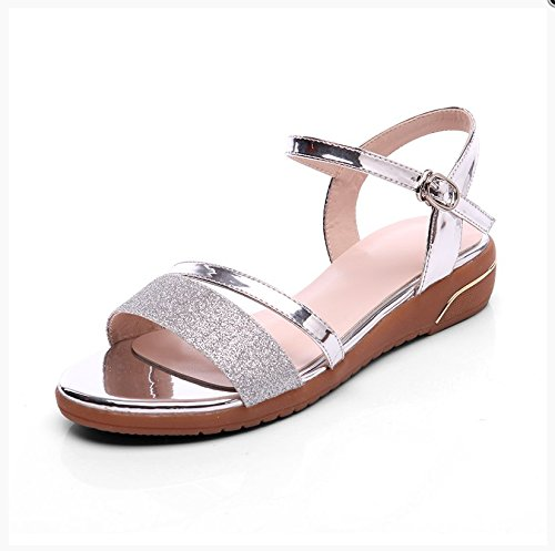 XY&GKMode mit flachen Mutter Sandalen für Frauen Sommer Sommer Studenten nackten Zehen einfach die Freizeit Frauen Sommer Sandalen, komfortabel und schön 38 Silver