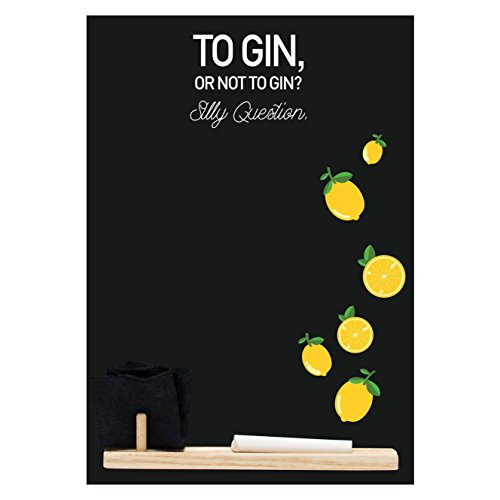 Kreidetafeln UK klein Memo Board/Kreidetafel/Tafel/Küche Kreidetafel mit bedruckt Gin Dumme Frage...