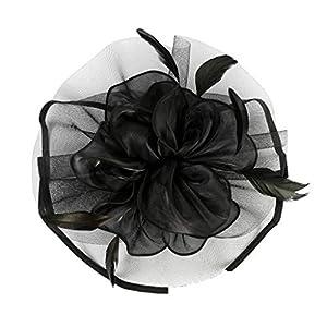 Baoblaze Feder Fascinator Stirnband Blume Haarreif Haarband Kopfbedeckung für Cocktail Party Hochzeit Schmuck