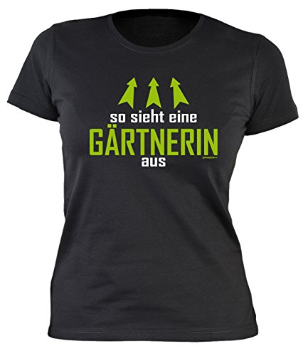 Gärtner Sprüche Damen T-Shirt - Damenshirt Gärtnerin : So sieht eine Gärtnerin aus -- lustige Sprüche Hobbygärtner Gr: XL