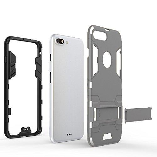 Coque iPhone 7 Plus, Pasonomi [Slim Hybrid] Double Couche Étui Rigide avec Fonction Stand pour iPhone 7 Plus, Noir Gris