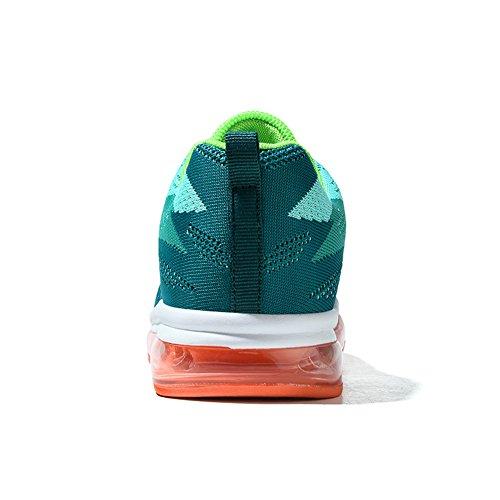 Jedvoo Hommes Femmes Sport Chaussures Course Basse Basketball Running Sneakers Gymnastique Courir Tennis Chaussures De Plein Air Unisexe Adulte Vert