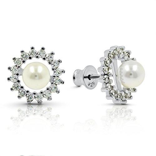 Damen Fashion 925Sterling Silber Ohrringe, die mit Swarovski Weiß Perlen–Tolles Mother 's, Valentinstag, Weihnachten Geschenk für (Kostüme Verkauf 70 S)