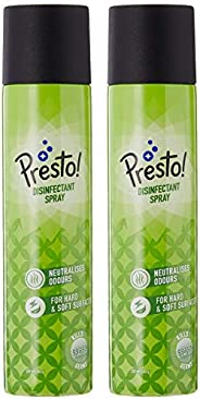 Amazon Brand - Presto! Multi-purpose Surface Disinfectant Spray with 99.99% germ kill - 250 ml (Pack of 2)