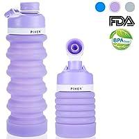 PIHEN Botella de Agua Plegable Libre de BPA, Botellas de Agua retráctiles de Grado alimenticio