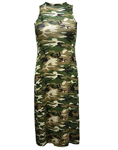 Janisramone - Robe - Camouflage - Sans Manche - Femme * taille unique camouflage