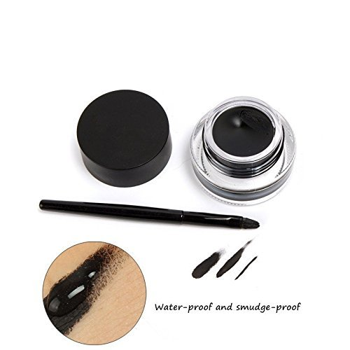 Gel Eyeliner Set, Tinabless Waterproof 2 in 1 Brown and Black Eyeliner Make Up Cosmetic Long lasting Cream Eye Liners Kit with Makeup Eyeliner and Eyebrow Brushes and Cat Shaping Eye Liner Stencil