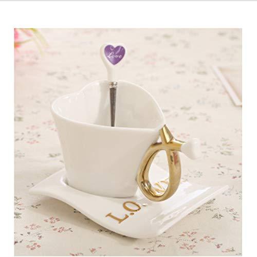 Leyoyo tazza di caffè in stile europeo tazza di ceramica tazze e piattini per l'amore coppia di tazze compleanno di san valentino nozze di matrimonio a