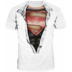 Hombres Y Mujeres Amantes Hip-Hop Sueltos de Gran Tamaño Estilo Callejero Blusa Patrón Superman Manga Corta Camiseta,Photocolor-L
