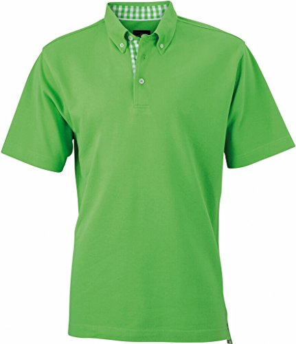 JAMES & NICHOLSON Button-Down-Polo mit modischem Karo-Einsatz lime-green/lime-green-white
