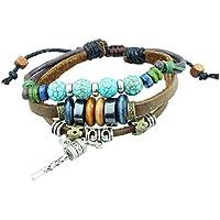 Soleebee Unisex Adjustable Vintage Turquoise Beads Handmade Leather Hemp Cord Multi Strands Adjustable Wrap Bracelet (Rattle Drum)