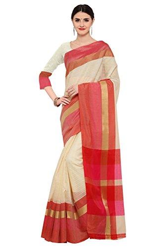Applecreation Women's Linen Silk sarees new collection (Cream_LNN120)