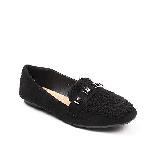 Pantofole Ideali Gabriele Con Due Materiali Scarpe Nero Strass 8Cwfx55