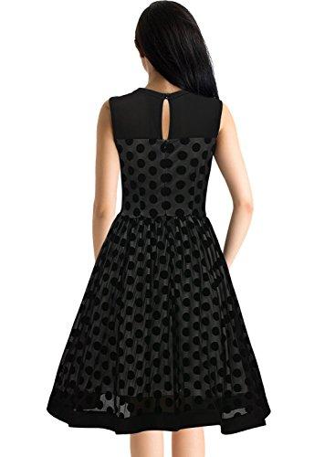 Missmay Damen Vintage 50er Jahr Kleid Abendkleid mit Polka Dots ?rmellos Cocktailkleid schwarz Gr.M -