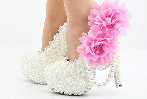 YCMDM Femmes Grande Taille Blanc Dentelle Poudre Mariage Chaussures Super Haut Avec Rondes Chaussures De Mariage Chaussures Demoiselle De Nuit Chaussures 11 cm with high reservation