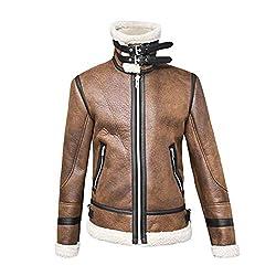 MAYOGO Jacke Herren Freizeit Breit Außenkragen Winterjacke Männer Übergroße Lose Winter Plus Samt Warm Jackett Overcoat Mantel Lederjacke mit Reißverschluss