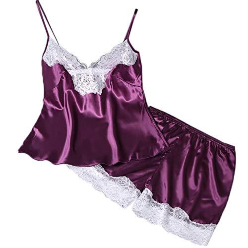 Price comparison product image Woman Pajamas Jaminy 2PCs Lingerie Women Lace Babydoll Nightdress Nightgown Sleepwear Underwear Set (Purple,  L)