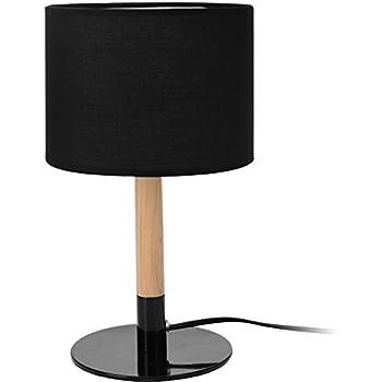 Relaxdays Nachttischlampe Zylinder-Form, Stoffschirm