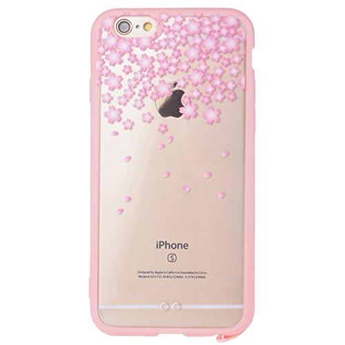 iPhone 6 / 6S Custodia, Yokata PC Silicone Bumper Goccia Protezione Cover Rosa Trasparente Crystal Clear Backcover Utral Slim Ultra Sottile Luce Case per iPhone 6 / 6S + 1 * Stilo Penna - Coniglio Rosa Fiori 1