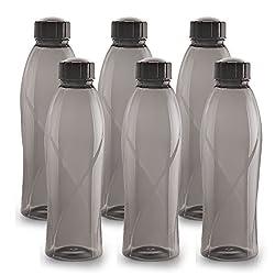 Cello Texas Plastic Pet Bottle, 1 Litre, Set of 6, Black