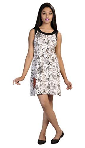 Damen ärmellose weiße Farbe Kleid mit kreis Print und Blumenstickerei -WHITE LILLY (LMN-4020-M) (Kreis Ärmelloses)