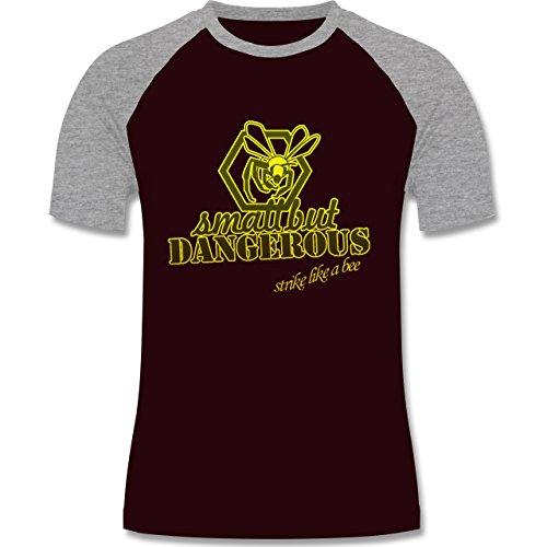 Statement Shirts - Small but dangerous Biene - zweifarbiges Baseballshirt für Männer Burgundrot/Grau meliert
